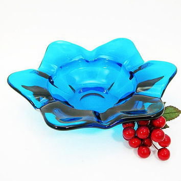Blue Viking Art Glass Cigar Ashtray - Vintage Tobacciana 1960s - Epic 6 Petal Design #1119 - Large 9 Inch Width - Mid Century Home Decor