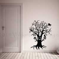 Spooky Halloween tree with spider webs and crows vinyl wall decal, wall art