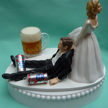 Wedding Cake Topper Pabst Blue Ribbon PBR Beer Drinking Drinker Groom Themed w/ Garter, Display Box