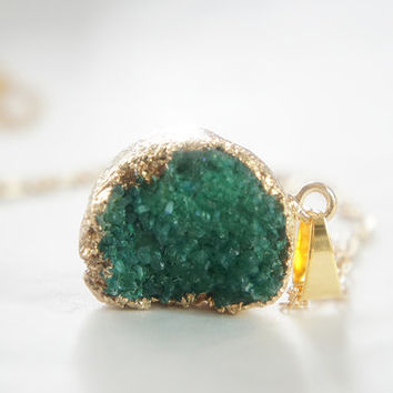 Green Druzy Necklace - Natural Agate Titanium Druzy Geode Quartz Crystal Rough Cut Rock Round Nugget Necklace OOAK - SDN16