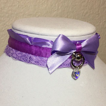 two toned purple lacey TUG PROOF kittenplay petplay collar with D ring ball post and swarovski crystal heart charm!!!