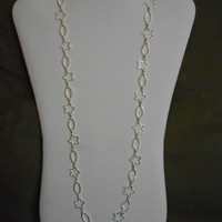 SALE 28 inch long Silver Flowers and Ovals Chain Layering Necklace