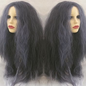 Grey Witch, Grey Silver White Dip Dye Crimped Cosplay Wig