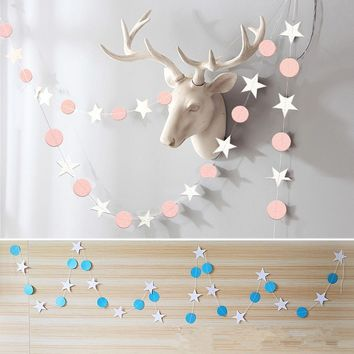 New 1pcs 4m Paper Star Pull Flowers Banner Bunting Fabric Flag Event Party Garlands Wedding Garland Pennants Shower Decoration