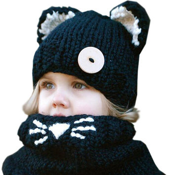 Fashion Child Winter Black Knitting Wool Cat Soft Warm Hats For Baby Girls Shawl Hooded Cowl Beanie Cap For 2-9 Years Kids