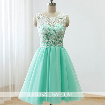 bd882cc1980 Custom Lace Tulle Bridesmaid dress Prom Dress Mint Green Dress Knee Short  Dress