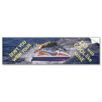 Cool Yellow Labrador Retriever Jumping Boat Waves Car Bumper Sticker
