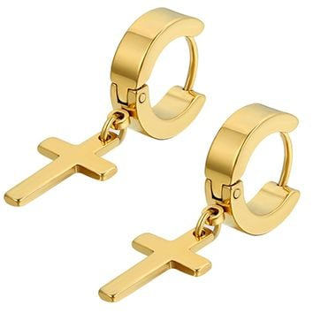 Flongo Men's Womens Vintage Stainless Steel Cross Dangle Hinged Hoop Earrings