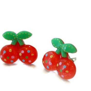 CHERRY earring studs by DeathwishDesign on Etsy