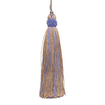 "Set of 10 Decorative Lavender Blue, Taupe  4"" Tassel, Imperial II Collection Style# ITS Color: PERIWINKLE GOLD - 5080"