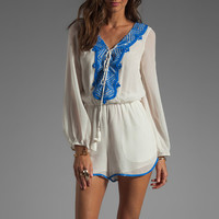 renzo + kai Embellished Silk Peasant Romper in White/Ocean