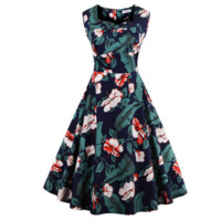 Retro Floral  Print Tutu Pleated Dress  B0015168