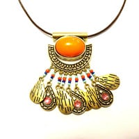 African Tribal Necklace, Orange Statement Necklace, Pendant Necklace, Leather & Brass Necklace, Cocktail Necklace, Party Necklace