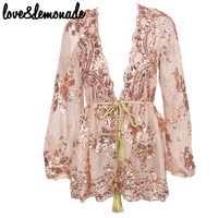 Love&Lemonade Rose Gold Sequined Long-Sleeved Blouse TB 9288