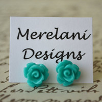 Dark Teal Roses . Studs . Earrings . Rose Studs Collection