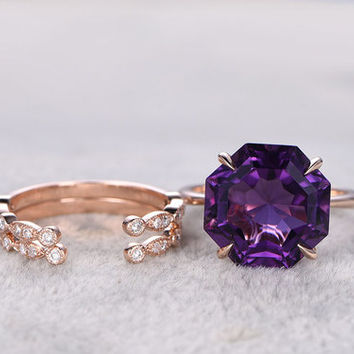3pcs Amethyst Engagement Ring Set Rose Gold Diamond Matching Band Purple Stone Open Gap Half Eternity Stacking