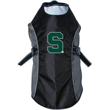 spbest Michigan State Spartans Water Resistant Reflective Pet Jacket