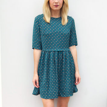 Rena Smock Dress in Tile Print by Poppy Lux - UK