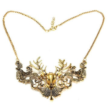 Retro Antelope Deer Head Pendant Collar Necklace