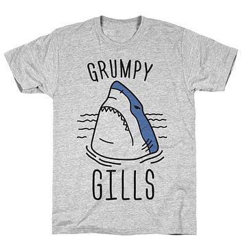 Grumpy Gills Shark Athletic Gray Unisex Cotton Tee by LookHUMAN