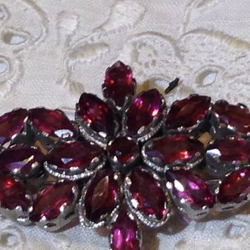 Vintage Handmade Red Garnet Sterling Silver/Rhodium Bar Brooch