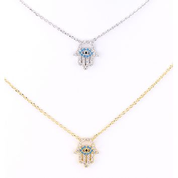 Hamsa Evil Eye Charm Necklace
