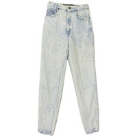 1990's Pants (Sunset Blues): 90s -Sunset Blues- Womens light blue background acid washed cotton denim, five pocket, high waist wicked 90s jeans pants with button/zip front closure and tapered legs.