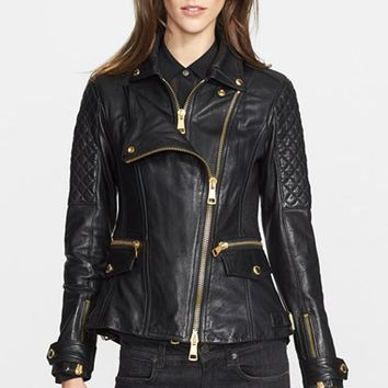 Women's Burberry Brit 'Remmington' Lambskin Leather Moto Jacket,