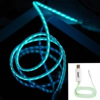 IMZ (TM) White Green Visible Flowing LED EL Light Micro USB Sync Data Charging Charger Cable for Samsung Galaxy S4 S3 S i9500, Note 3 2 III II, Epic 4G Touch, Skyrocket, Galaxy Attain, Galaxy Note, Galaxy Nexus, Galaxy S, Galaxy Pocket, Rugby Smart and Mor