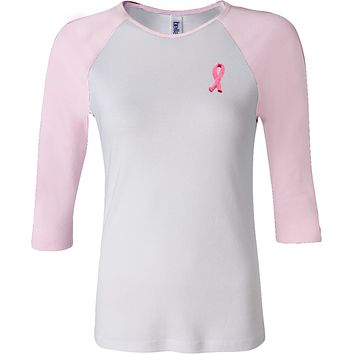 Buy Cool Shirts Ladies Breast Cancer Tee Embroidered Ribbon Pocket Print Raglan