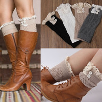 Women's Knit Boot Cuffs Lace Knitted Boot Toppers Knitted Leg Warmers Accessories = 1958152388
