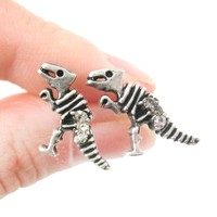Dinosaur Fossil Shaped Stud Earrings in Silver with Rhinestones | DOTOLY