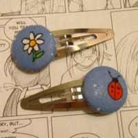 Blue Ladybug/Flower Hair Clips by smiss00 on Etsy