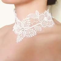 white lace choker necklace - floral pearl charmed beaded - gothic vintage Victorian art deco - wedding bridal necklace