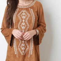 Suede Embroidered Bell Sleeves Shift Dress