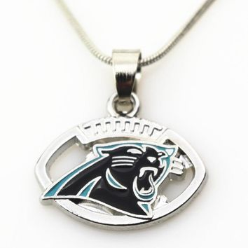 New Arrival 10pcs/lot Carolina Panthers Football Team Necklace Pendant Jewelry With 45+5cm Snake Chains DIY Jewelry Charms
