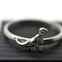 Tyrannosaurus Rex Ring, Silver Dinosaur Jewelry, T-Rex Ring, Scary Monster Ring, Silver Animal Jewelry