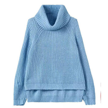 Blue Turtleneck Knitted Sweater