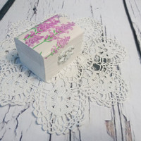 Decoupage romantic white lavender engagement / Wedding ring box, pillow woodland provance natural shabby chic proposal