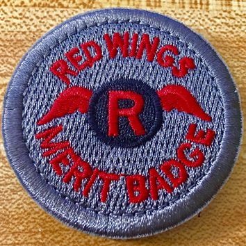 Red Wings Merit Badge Round Embroidered Patch