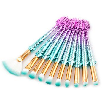 10Pcs Rainbow Mermaid Makeup Brushes Eyebrow Eyeshadow Eye Make Up Brush Big Fish Tail Large Blending Concealer Powder Brush