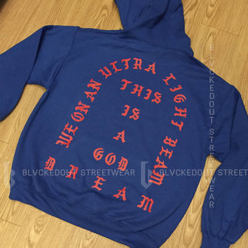 Yeezus Tour Ultra Light Beam BLUE Hoodie / Kanye West / Yeezy / I Feel Like Pablo / TLOP / The Life of Pablo / Season 3