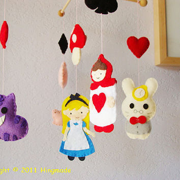 Hanging Nursery baby Mobile Alice in Wonderland by hingmade