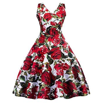 Retro dress 50s 60s vintage elegant Hepburn style robe chic red roses printing dresses pin-up rockabilly swing vestidos feminino