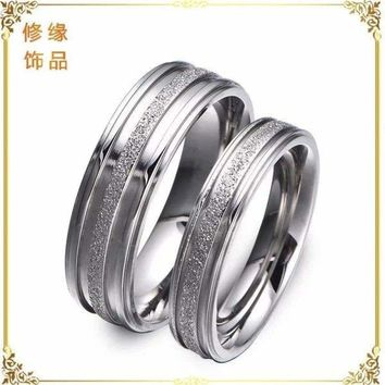 Stainless Steel Silver Tone Frosted Centered Wedding Couple Engagement Ring Gift
