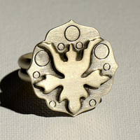 Abstract Botanical Art Deco Sterling Silver Statement Ring