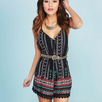 Tribal Print V-Back Romper | Wet Seal