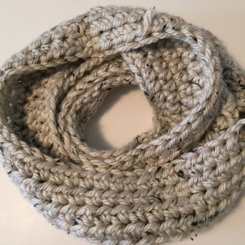 Crochet Infinity Scarf - Tweed - Tan - Brown - Chunky - Bulky - Oversized - Handmade