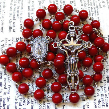 Miraculous Medal Rosary - Red Rosary Beads, Bamboo Coral, Large Rosary