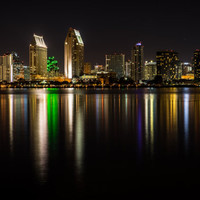 San Diego photography, San Diego skyline, night photography, travel photography, photo print, canvas, home decor, wall art